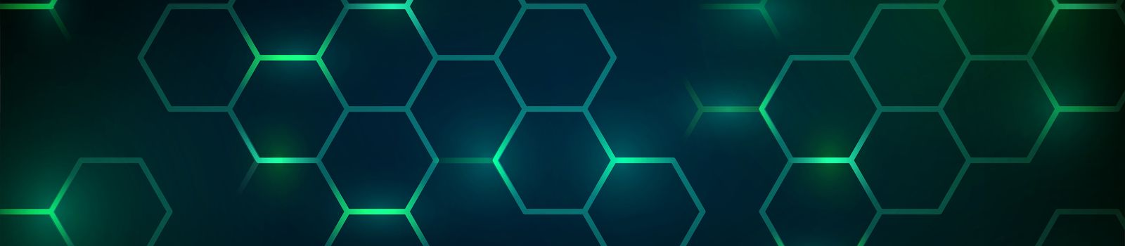 Abstract technology dark background with green luminous hexagons